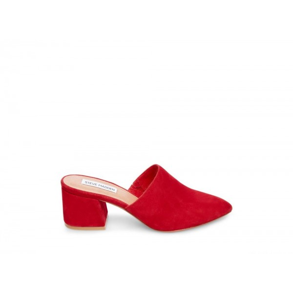 Clearance Sale - Steve Madden Women's Mules SUPERIOR Red Suede