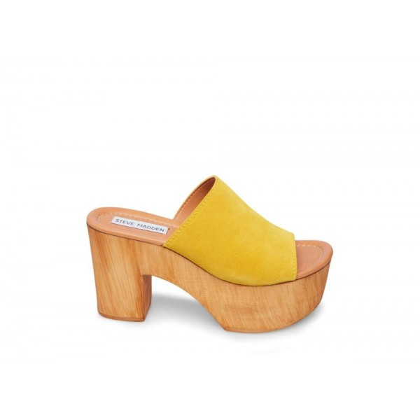 Steve Madden Women's Mules PLAYDATE Yellow Suede Black Friday 2020