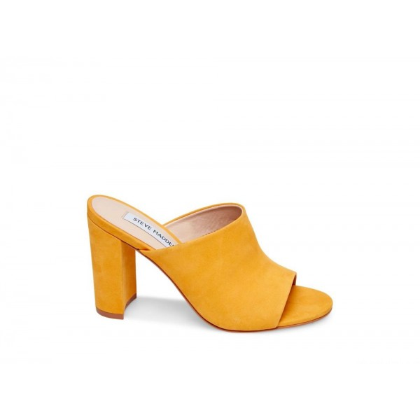 Steve Madden Women's Heels ESMERALDA Yellow NUBUCK Black Friday 2020